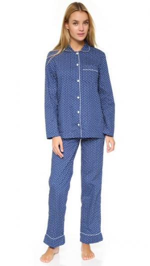 Хлопковая пижама Jamie Three J NYC. Цвет: темно-синий с белыми сердечками и белой отделкой