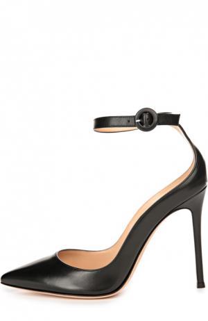 Кожаные туфли с ремешком на щиколотке Gianvito Rossi. Цвет: черный