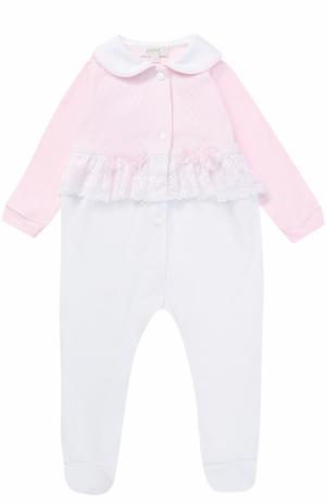 Хлопковая пижама с кружевной отделкой и декором Aletta. Цвет: розовый