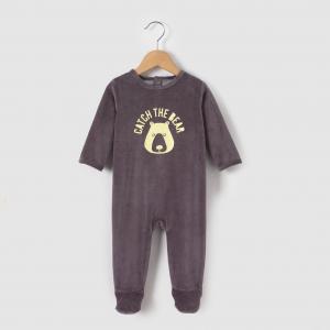 Пижама из велюра  0 мес-3 лет La Redoute Collections. Цвет: серый