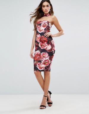Jessica Wright Платье миди с лифом-бандо и цветочным принтом. Цвет: мульти