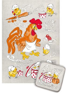 Набор кухонный Шеф и цыплята GrandStyle. Цвет: желтый, серый, оранжевый