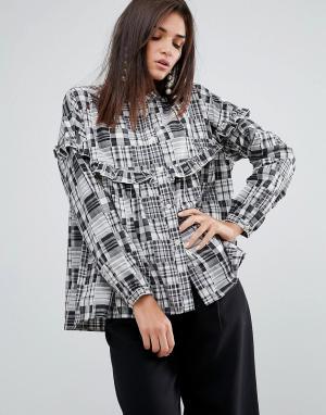 YMC Рубашка в стиле пэчворк с оборкой. Цвет: серый