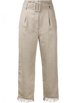Укороченные брюки с бахромой Nanushka. Цвет: коричневый