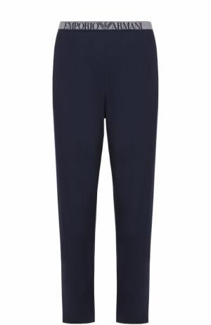 Домашние брюки из вискозы Emporio Armani. Цвет: темно-синий