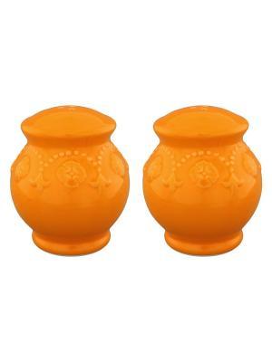 Набор из 2-х солонок Оранжевая с узором Elan Gallery. Цвет: оранжевый
