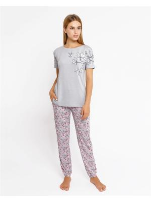 Комплект одежды: футболка; брюки Mark Formelle. Цвет: серый, белый, бледно-розовый