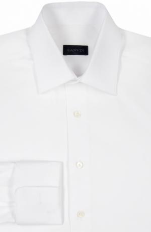 Хлопковая сорочка с манжетами под запонки Lanvin. Цвет: белый