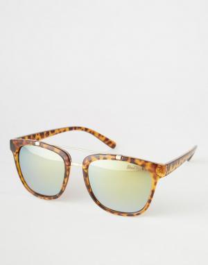Black Phoenix Квадратные солнцезащитные очки в черепаховой оправе. Цвет: коричневый