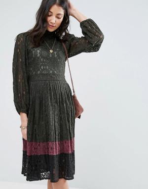 Raga Кружевное платье в стиле колор блок Lexington. Цвет: зеленый