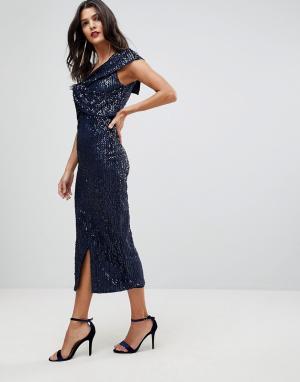 Lavish Alice Бархатное платье миди на одно плечо. Цвет: фиолетовый