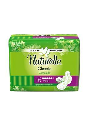 Гигиенические прокладки с крылышками, ароматизированные, Camomile Maxi Duo, 16шт. NATURELLA. Цвет: белый