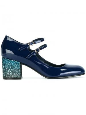 Туфли-лодочки на каблуке с блестками Pollini. Цвет: синий