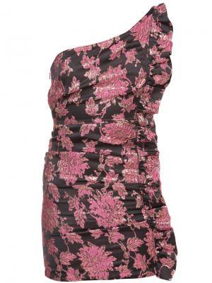 Платье на одно плечо с цветочным жаккардовым узором For Love And Lemons. Цвет: розовый и фиолетовый