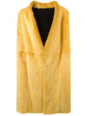 Меховое пальто без рукавов Liska. Цвет: жёлтый и оранжевый