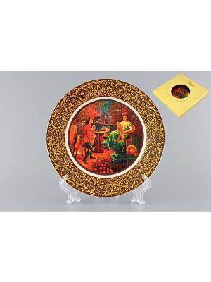 Тарелка декоративная Влюбленнная парочка Elan Gallery. Цвет: желтый, зеленый, коричневый, красный