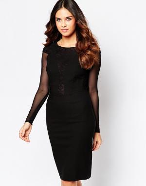 Hybrid Платье с сетчатыми рукавами и кружевной отделкой на спине Haele. Цвет: черный