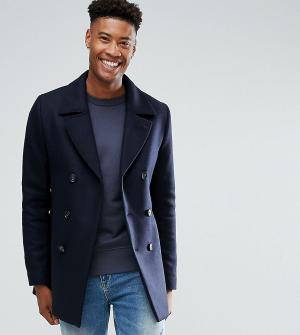 Ted Baker Шерстяное пальто-бушлат TALL. Цвет: темно-синий