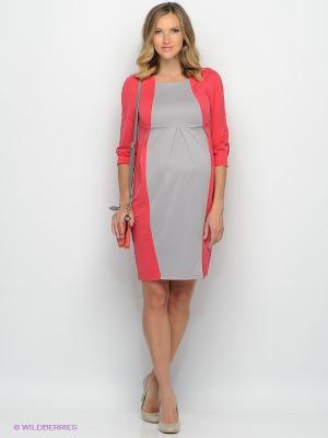 Платье UNIOSTAR. Цвет: коралловый, серый