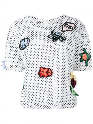 Блузка в горох с заплатками Michaela Buerger. Цвет: белый