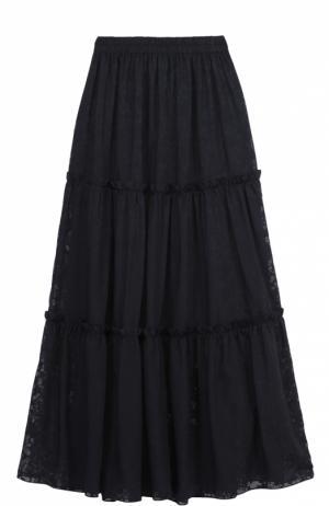 Кружевная юбка-макси с эластичным поясом Poustovit. Цвет: синий