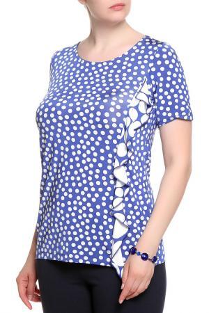 Блуза ROSANNA PELLEGRINI. Цвет: синий, белый горох
