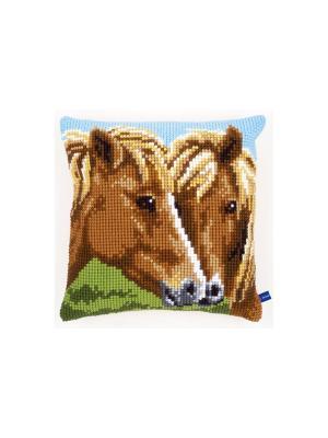 Набор для вышивания лицевой стороны наволочки Лошади 40*40см Vervaco. Цвет: коричневый, голубой, зеленый