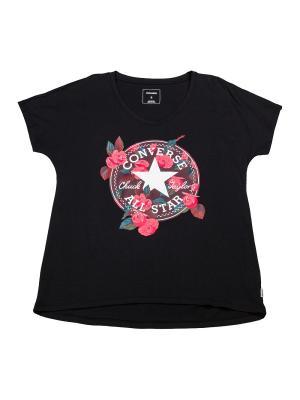 Футболка Floral CP Femme Tee Converse. Цвет: черный