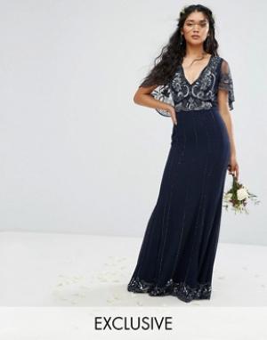 Amelia Rose Платье макси с кейпом, отделкой и рельефным краем. Цвет: темно-синий