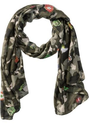 Широкая шаль в стиле милитари (зеленый с узором) bonprix. Цвет: зеленый с узором