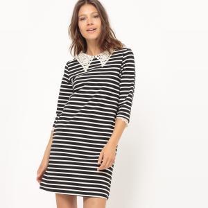 Платье в полоску с рукавами 3/4 и ложным кружевным воротником MOLLY BRACKEN. Цвет: в полоску черный/белый