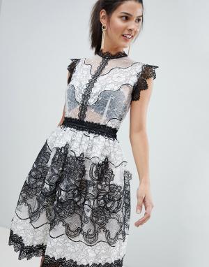 Bronx and Banco Кружевное платье мини. Цвет: черный