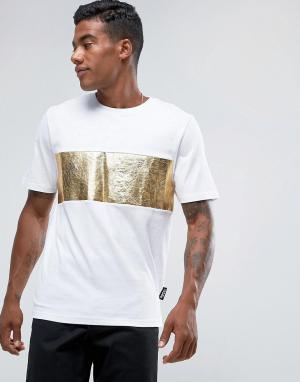 Jaded London Белая футболка с золотистой вставкой. Цвет: белый