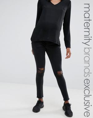 Missguided Maternity Черные джинсы для беременных с рваной отделкой. Цвет: черный