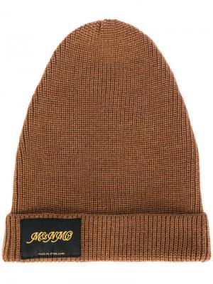 Вязаная шапка с заплаткой логотипом Stella McCartney. Цвет: коричневый