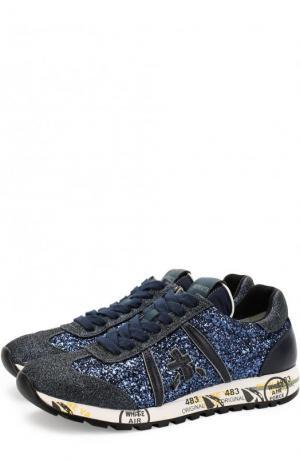 Комбинированные кроссовки Lucy-D с глиттером Premiata. Цвет: синий