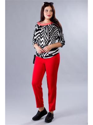 Блузка MILORI. Цвет: черный, белый, светло-коралловый