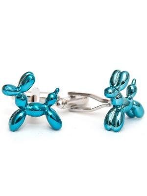 Запонки шарик - собака Churchill accessories. Цвет: серебристый