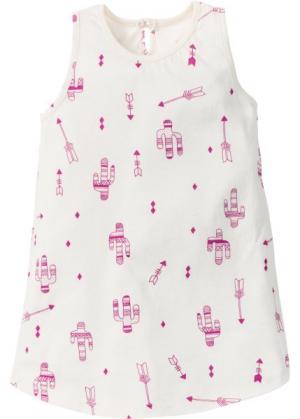 Трикотажное платье (кремовый/фуксия с принтом) bonprix. Цвет: кремовый/фуксия с принтом