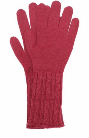 Кашемировые перчатки фактурной вязки TSUM Collection. Цвет: бордовый