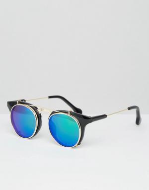 Jeepers Peepers Круглые солнцезащитные очки с зелеными стеклами. Цвет: черный