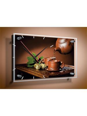 Настенные часы Зеленый чай 35х60 В865 PROFFI. Цвет: зеленый, золотистый, коричневый, светло-коричневый, темно-коричневый, черный