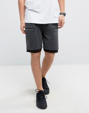 ASOS Трикотажные шорты с карманами на молнии. Цвет: серый