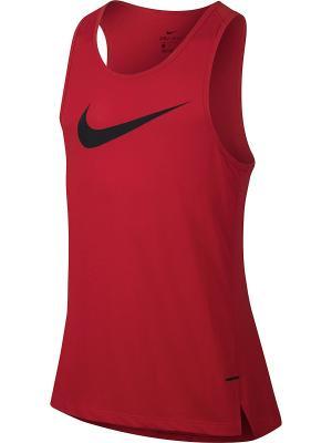 Майка спортивная M NK BRTHE TOP SL ELITE Nike. Цвет: красный