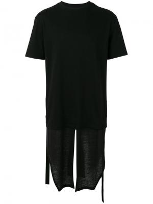 Многослойная удлиненная футболка D.Gnak. Цвет: чёрный