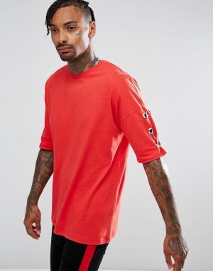 ASOS Красная оверсайз-футболка с люверсами и кольцами. Цвет: красный