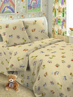 Комплект в кроватку Ясли BGR-35, простыня на резинке, бязь Letto. Цвет: бежевый