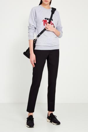 Серый свитшот с вышивкой Girls In Bloom. Цвет: серый
