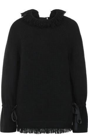 Пуловер свободного кроя с бахромой Sacai. Цвет: черный