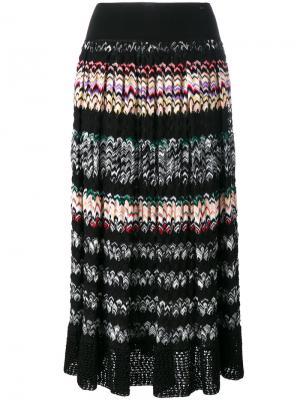 Плиссированная юбка в полоску зигзаг Missoni. Цвет: чёрный